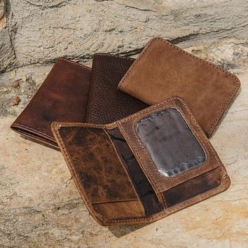 Coin Pocket Wallet  Leather Bifold Wallet with Coin Pocket   Mens Handmade Leather wallet   License holder
