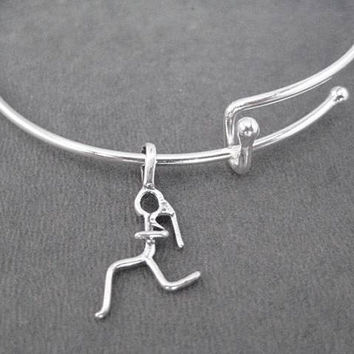 Runner Girl Expandable Bangle Bracelet - Sterling Charm with Silver Plated Expandable Bracelet - Runner Expandable Bracelet - Run Bracelet