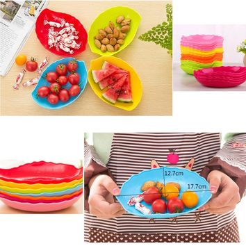 5Pcs/Lot Colorful Plastic Leaf Shaped Fruit Plates Compote Candy Snack Nuts Box Holder Tray Dish Decoration Plate
