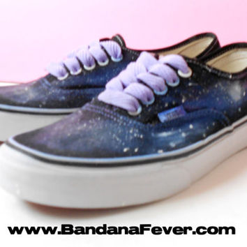 Bandana Fever Custom Painted Vans Authentic Black Galaxy