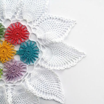 Colorful crochet doily, lace doily, pineapple doily, 11.5 inches, flower centerpiece, wedding table decor