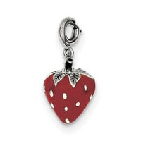 Sterling Silver Enameled Strawberry Charm QC6149