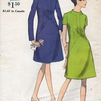 Retro Mod Mad Men Style Dress 60s Vogue Sewing Pattern A-line Neck Band Secretary Style Casual Day Dress Bust 34 Uncut