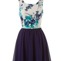 Floral Statement Dress - Blue