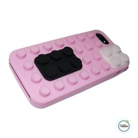 Lego iPhone 5 Case Cover with Removable Brick Block made of Soft Silicone for Apple iPhone 5 and iPhone 5s with Free Microfiber Cleaner (HOT PINK)