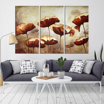 63427 - Red Poppy Abstract Flower Canvas Print | Poppies Abstract Wall Art Print