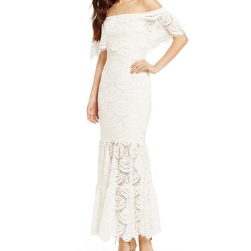 Gianni Bini Reina Off-the-Shoulder Short Sleeve Lace Maxi Dress | Dillards