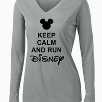 Keep Calm and Run Disney Ladies Long Sleeve V-Neck Competitor Tee