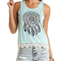 Rhinestone Dreamcatcher Graphic Muscle Tee
