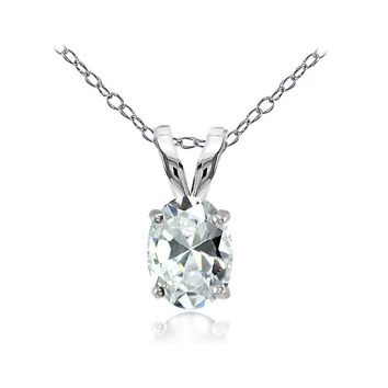 Sterling Silver Cubic Zirconia 8x6mm Oval Solitaire Necklace