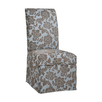 Powell  741-225Z Quilted Powder Blue with Raised Brown Chenille Flowers Skirted Slip Over Slipcover (Chair Not Included)