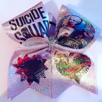 Suicide Squad Harley Quinn Deadshot Joker Themed Sparkle Cheerleader CHEER BoW Original Bows
