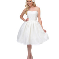 Unique Vintage 1950s Style Pearl Illusion Belle Wedding Dress