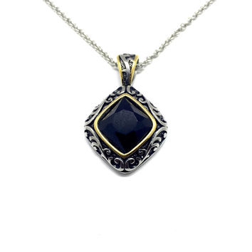Stainless Stainless Pendant with Gold Trim and Black Onxy Necklace