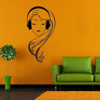 Wall Decor Vinyl Sticker Room Decal Art Music Girl With Headphones Music Note Hair DJ 981