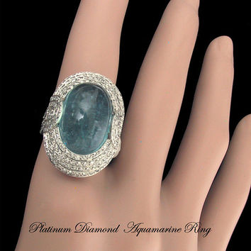 Platinum Diamond Natural Blue Aquamarine Ring Art Deco Great Gatsby