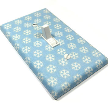Light Blue Snowflake Decor Light Switch Cover Snowflakes Decoration Holiday Home Decor Christmas 1266