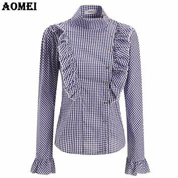 Plaid Blouse Women Elegant Gingham Shirt with Ruffle Trim Vintage Peplum Lady Slimming Shirts Casual Tops Blusas 2018 Spring