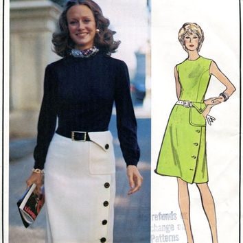 1960s MOLYNEUX DRESS: Asymmetrical Closure Skirt & Belted Patch Pocket Vogue 2692 Paris Original Designer Mod UNCUT Vintage Sewing Patterns