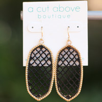 Iconic Glam Earrings - Black + Gold