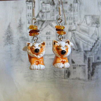 Foxes Earrings, Dangle Jewelry, Nature Inspired, Silver 925 Earrings, Clay Ceramic Porcelain Fox, Gift for her, splendid and unique