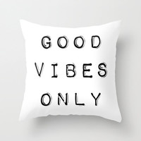 Black and White Pillow - Good Vibes Only - Black and White Decorative Pillows - Velveteen Pillow Cover - Modern Home Decor - Modern Pillow