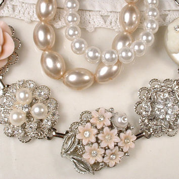 OOAK Blush Pink Bridal Bracelet, Ivory Pearl Rhinestone Cameo Silver Vintage Cluster Earring Bracelet Bridesmaids Gift Shabby Chic Country