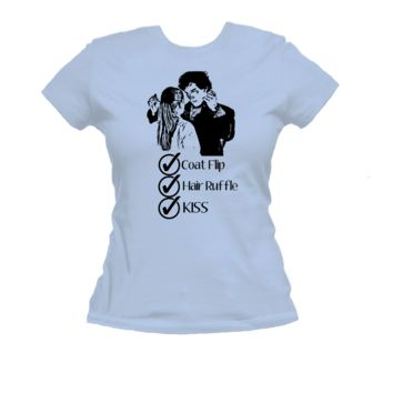 Coat Flip, Hair Ruffle, Kiss, Sherlock American Apparel Ladies T Shirt