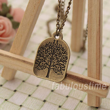 Tree of life necklace,retro bronze unique wishing tree necklace---N114