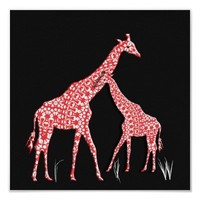 Cute Mother and Baby Giraffe Whimsical Poster from Zazzle.com