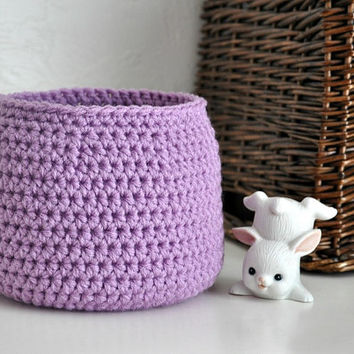 Small Orchid Basket Catchall Storage Bin Modern Decor Contemporary Design Purple Holiday Decor