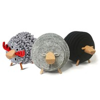 Christmas Gifts Sheep Shape Cup Table Mats Anti Slip Drink Coasters Insulated Round Felt Creative Home/Office Decor Nordic Style