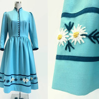 Vintage Dress - Pale Blue - 50s 60s Dirndl Dress - Austrian Folk / Sound Of Music Style - 38 Bust - Exc Cond