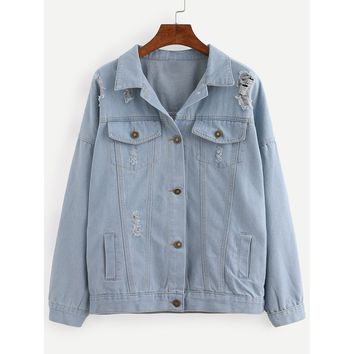 Starstruck Buttoned Front Ripped Denim Jacket - Blue