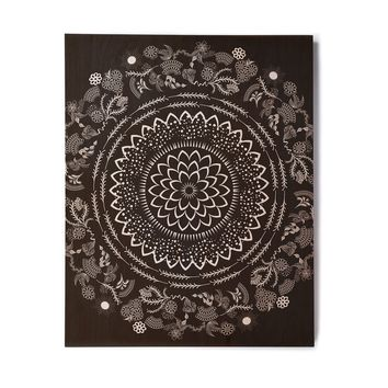 "Famenxt ""Botanical Folk Vibes Mandala"" Black White Illustration Birchwood Wall Art"