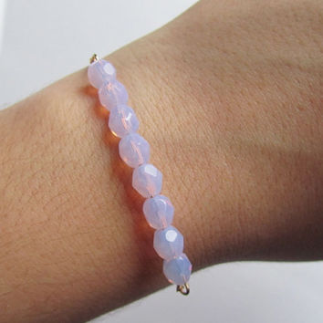 Milky Violet bracelet-Violet Opal glass beads on a gold plated chain, Bracelet