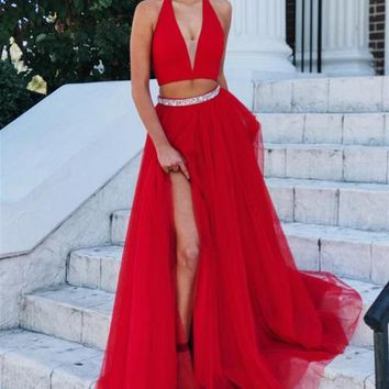 A Line Two Piece Hlater Slit Red Prom Dress
