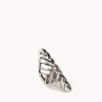 FOREVER 21 Cutout Chevron Knuckle Ring Antic Silver 7