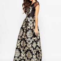 Chi Chi London Full Maxi Dress With Tile Print Placement And Cap Sleeve
