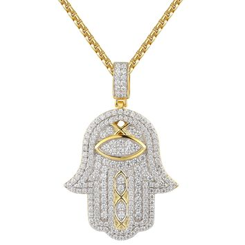 Designer Religious Hamsa hand Iced Out Pendant Chain