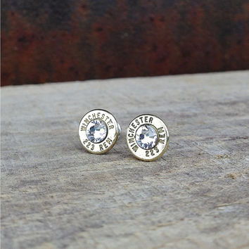 223 winchester remington bullet earrings with swarovski crystals sterling silver studs