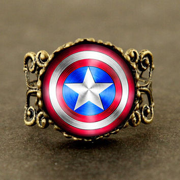 US Movie Captain America ring Avengers Age of Ultron 1pcs/lot ring jewelry mens womens fashion vintage steampunk new xmas 2016