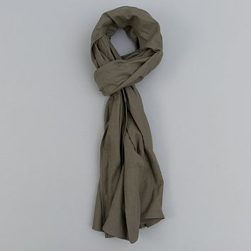 Linen / Cotton Oxford Scarf, Olive