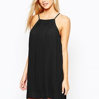 Fashion Union Pleated Swing Dress with Halter Neck