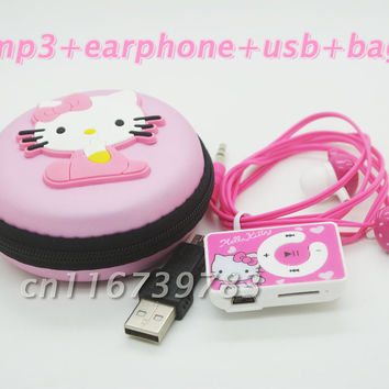 fashion Mini Hello Kitty MP3 Music Player Clip MP3 Players Support TF Card With Hello Kitty Earphone&Mini USB&hello kitty bag