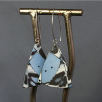 Geometrical triangular earrings, blue abstract polymer earrings, modern art to wear by JagnaB