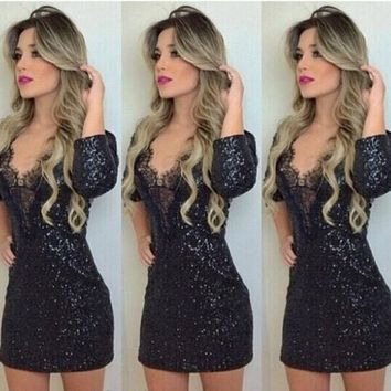 Black Lace Sleeve Bodycon Mini Dress