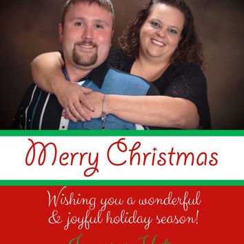 Merry Christmas Photo Card, Green, Red & White.  Simple Christmas Card with Picture.  5x7 or 4x6. Custom Digital, PDF card, invitation.