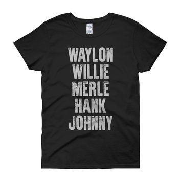 Waylon Jennings Willie Nelson Merle Haggard Johnny Cash Hank Album Women'S T Shirt