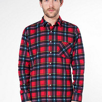 Printed Plaid Flannel Long Sleeve Button-Up with Pocket